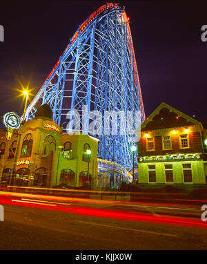 Night time view of the Big One a giant rollercoaster on the pleasure beach complex, South Shore, Blackpool, Lancashire, - Stock Photo