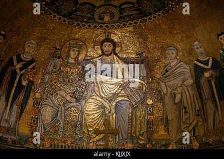 Santa Maria in Trastevere basilica, Rome. Detail of the 13th-century mosaics in the apse. Italy. - Stock Photo