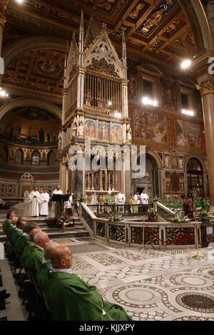 Mass in St John in Laterano's church, Rome. Italy. - Stock Photo
