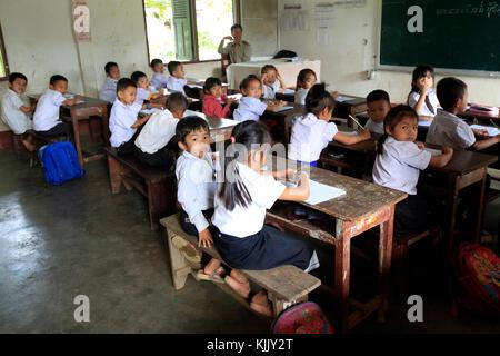 Elementary school.  Schoolchildren in classroom.  Laos. - Stock Photo