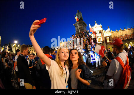 World Youth Day. Krakow. 2016. Pilgrims taking a selfie. Poland. - Stock Photo