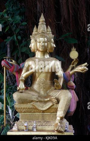 Brahma statue in Wat Duang Dee, Chiang Mai. Thailand. - Stock Photo