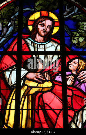 Dalat cathedral.  Stained glass window. Jesus and the children.  Dalat. Vietnam. - Stock Photo
