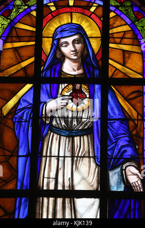 Dalat cathedral.  Stained glass window. The Immaculate Heart of Mary. Dalat. Vietnam. - Stock Photo