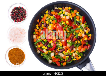 Vegetable mixed with beans and corn in frying pan,top view, isolated on white. Studio Photo - Stock Photo
