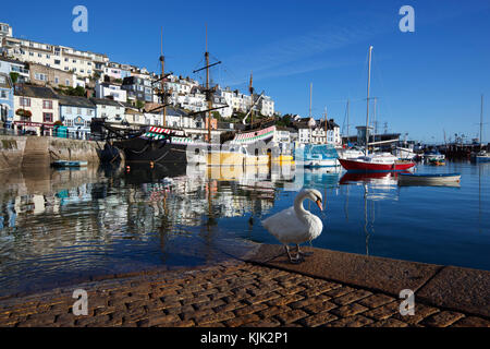Fishing harbour with replica of Sir Francis Drake's ship 'Golden Hind' - Stock Photo