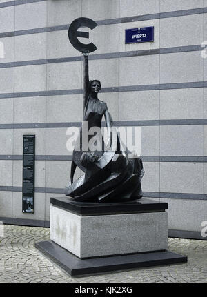 A Bronze statue of the goddess Europa holding a euro symbol outside the European Parliament building in the European - Stock Photo