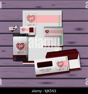 stationary templates of heart design of business stationery over purple wooden background - Stock Photo
