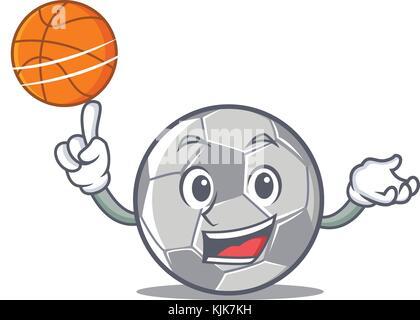 With basketball football character cartoon style - Stock Photo