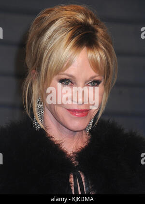 BEVERLY HILLS, CA - FEBRUARY 28: Melanie Griffith attends the 2016 Vanity Fair Oscar Party Hosted By Graydon Carter - Stock Photo