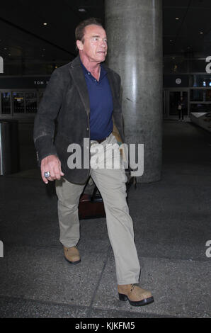 LOS ANGELES, CA - JUNE 02: Arnold Schwarzenegger arrives at the Los Angeles International Airport on June 2, 2016 - Stock Photo