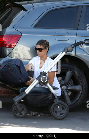 LOS ANGELES, CA -JUNE13: Elisabetta Canalis leaving Ron Herman in West Hollywood with her baby. Elisabetta Canalis - Stock Photo