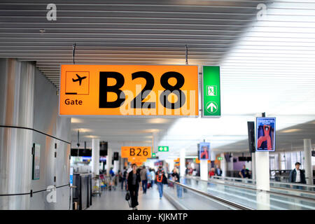 Schiphol airport.  Amsterdam.  Netherlands. - Stock Photo