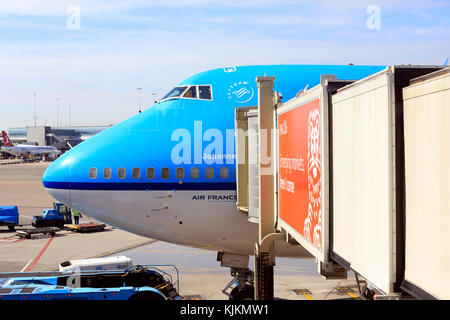 Schiphol airport. Boeing 747. Amsterdam. - Stock Photo