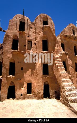 Ksar Ouled Soltane storehouses (Ghorfas). Tunisia. - Stock Photo