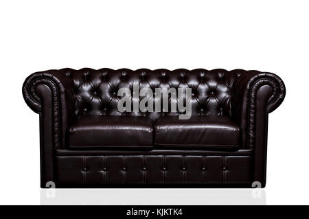 Vintage old dark brown leather sofa isolated on white background - Stock Photo