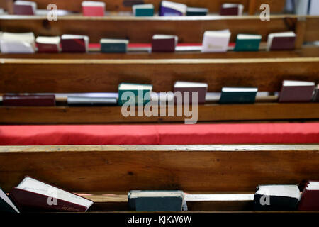 Sunday service at a Protestant church.  Holy bibles.  Cluses. France. Stock Photo