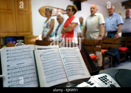 Sunday service at a Protestant church.  Cluses. France. Stock Photo