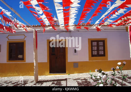 yellow houses in Redondo village, Portugal - Stock Photo