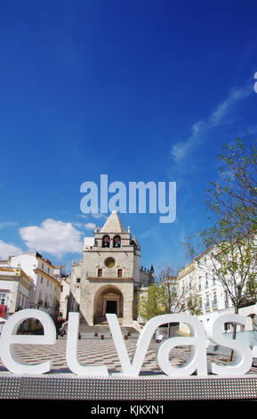 Republic Square in the town of Elvas and Cathedral of Our Lady of the Assumption - Stock Photo