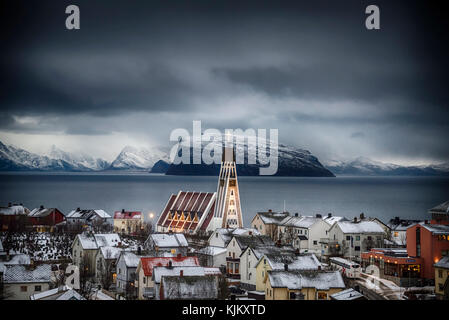 A winters day in Hammerfest, Norway. - Stock Photo