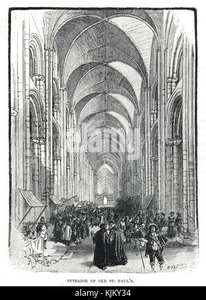 Interior of the old St Paul's Cathedral at the time of Charles I - Stock Photo