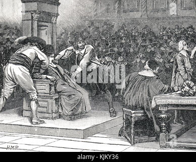 Speaker Finch imprisoned, 2 March 1629 and prevented from adjourning the house on the King's orders.  Held down - Stock Photo