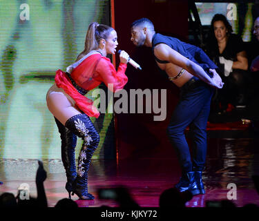 MIAMI, FL - OCTOBER 29: Jennifer Lopez performs during the Get Loud for Hillary Clinton at GOTV Concert in Miami - Stock Photo
