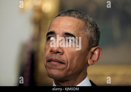 WASHINGTON, DC - JANUARY 17: U.S. President Barack Obama delivers a statement on the relations between US and Iran, - Stock Photo