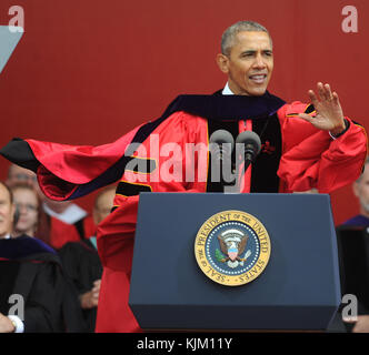 NEW BRUNSWICK, NJ - MAY 15: President Barack Obama receives honory degree from Rutgers President Robert Barchi and - Stock Photo