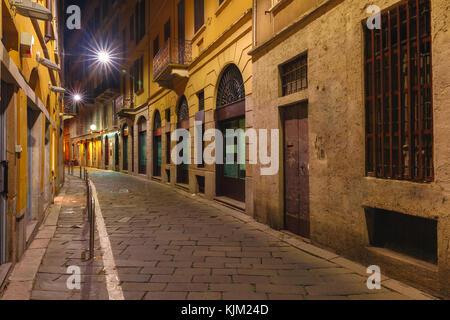 Medieval street at night in Milan, Lombardia, Italy - Stock Photo