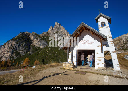 FALZAREGO PASS, ITALY, OCTOBER 19, 2017 - Chapel with Sass de Stria mountain in background on Falzarego Pass (Passo - Stock Photo