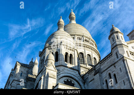 Three-quarters front view from below of the dome of the Basilica of the Sacred Heart of Paris. - Stock Photo
