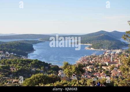 Panoramic view of Mali Losinj from the hill above the city - Stock Photo