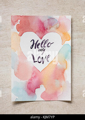 lovers day, feelings, drawing concept. on the wooden table there is piece of construction paper with wonderful painting - Stock Photo