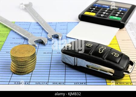 An concept Image of car maintenance costs - repair costs - Stock Photo