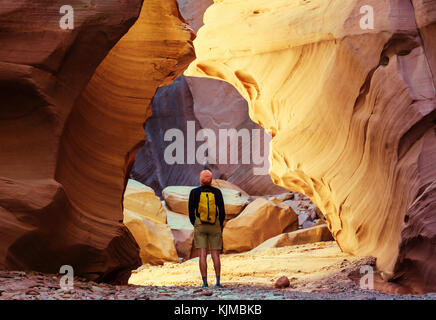 Happy Canyon fantastic scene. Unusual colorful sandstone formations in deserts of Utah are popular destination for - Stock Photo