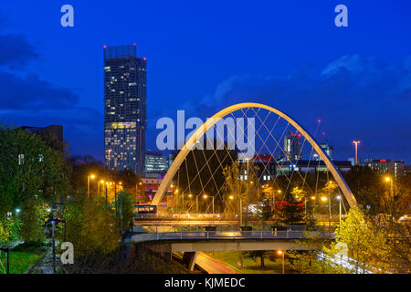 Manchester skyline from south with Hulme Arch featuring and part of Manchester Metropolitan University on left. - Stock Photo