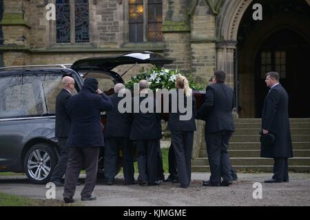 Bobby Knutt funeral at Wentworth Church, near Rotherham, South Yorkshire, UK.