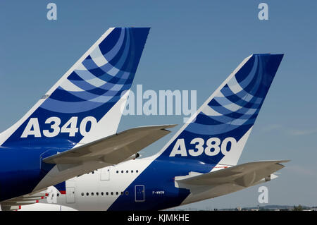 Airbus A340-600 and A380 tails with Airbus logos parked in the static-display at the 2005 Paris AirShow, Salon-du - Stock Photo