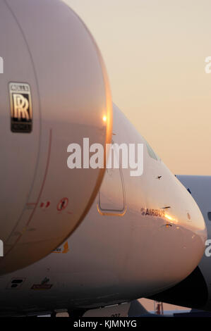 Rolls-Royce Trent 900 engine cowling of the Airbus A380-800 parked in the static-display at the 2006 Farnborough - Stock Photo
