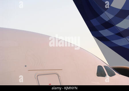 windshield and door of the Airbus A380-800 and tail-fin of the A340-600 parked in the static-display at the 2006 - Stock Photo