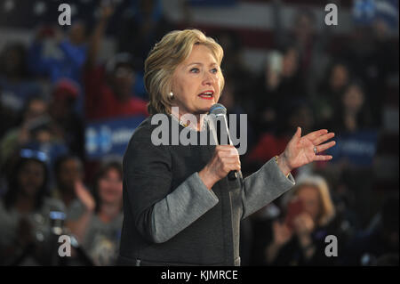 NEW YORK, NY - APRIL 05: Democratic presidential candidate Hillary Clinton hosts a Women for Hillary Town Hall meeting - Stock Photo