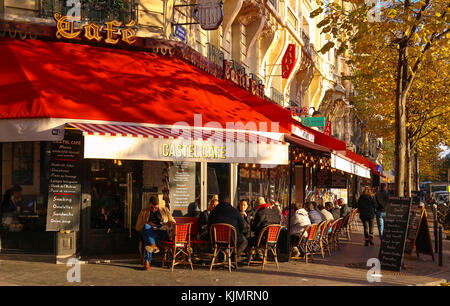The traditional Parisian cafe Le Castel located near Eiffel tower in Paris, France. - Stock Photo