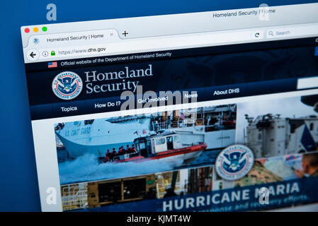 LONDON, UK - NOVEMBER 17TH 2017: The homepage of the official website for the United States Department of Homeland - Stock Photo