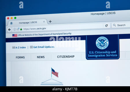 LONDON, UK - NOVEMBER 17TH 2017: The homepage of the official website for the United States Citizenship and Immigration - Stock Photo
