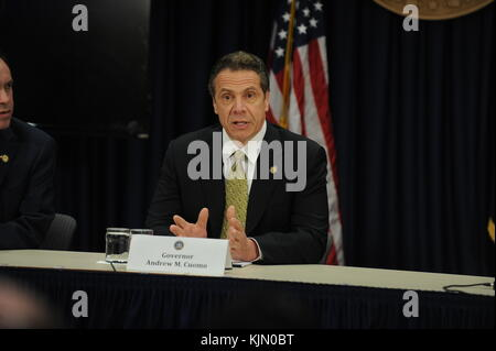 NEW YORK, NY - MARCH 17:  New York Governor Andrew Cuomo's holds press briefingÊonÊZIKA VIRUS on March 17, 2016 - Stock Photo