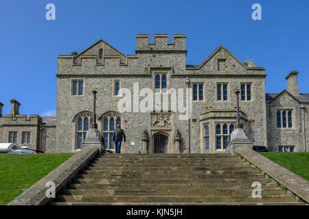 Dover Castle, Dover, Kent, UK - August 17, 2017: Officer's New Barracks with steps infront.  Landscape shot of stone - Stock Photo