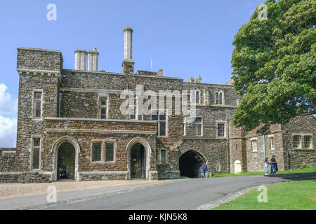 Dover Castle, Dover, Kent, UK - August 17, 2017: Dover Castle perimeter building and gate.  Summer shot with tourists. - Stock Photo