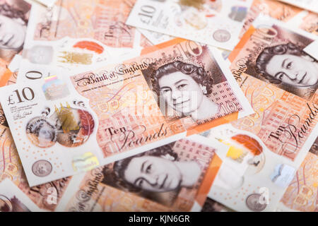 New polymer £10 pound notes - Stock Photo